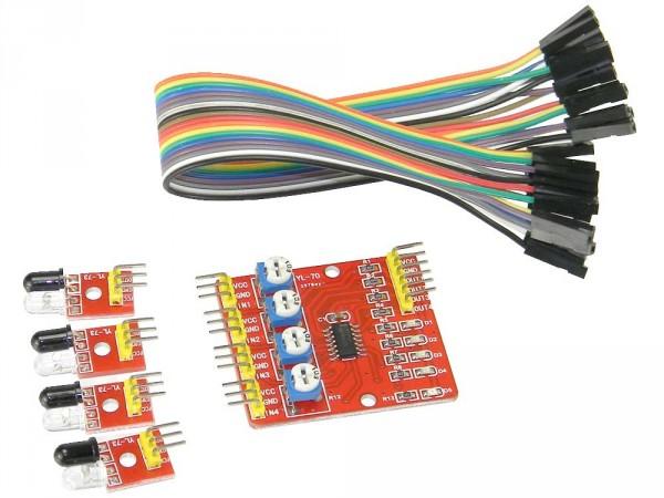 Modulo Sensore a 4 Vie di Evitamento Rilevamento Ostacoli ad Infrarossi Regolabile Inseguitore di Linea