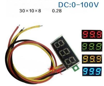 Blue 0.28 inch ultra-piccolo Digitale DC Voltmetro three-wire Digitale Regolabile DC 0-100V