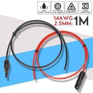 2.5 millimetri 14 AWG 1 Metro pannello solare cavo prolunga in rame filo nero e rosso con connettore